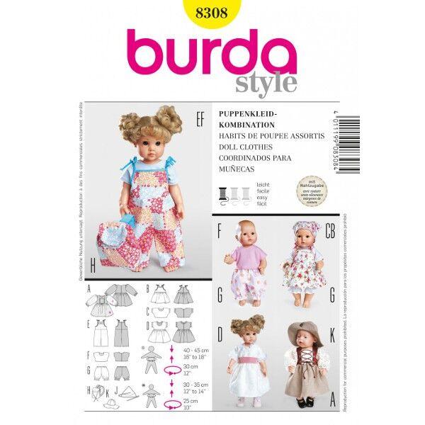 Burda 8308 Puppenkleider-Kombination für 30 bis 45 Zentimeter große Puppen