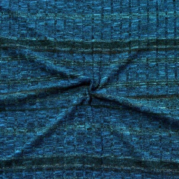 "Strickstoff gerippt ""Fashion Stripes Melange"" Farbe Blau-Multicolor"