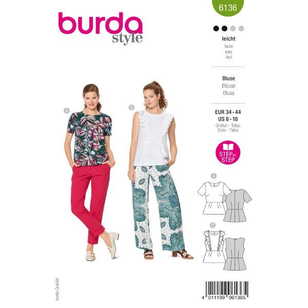 Schößchenblusen, Gr. 34 - 44 Schnittmuster Burda 6136