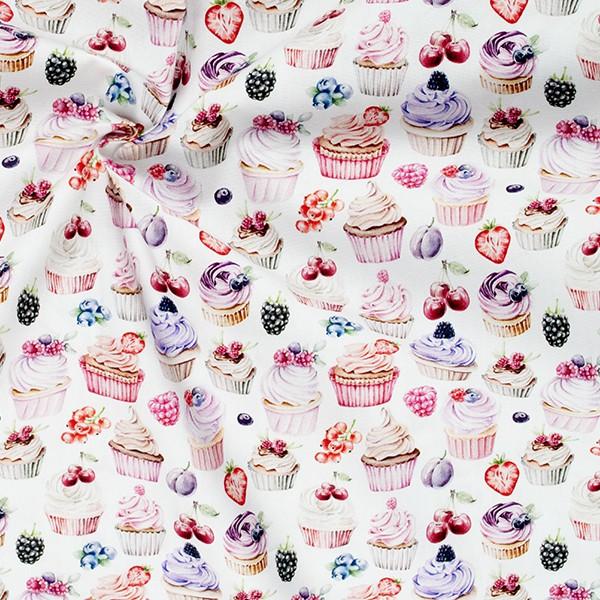 100% Baumwolle Popeline Sweet Cupcakes Weiss