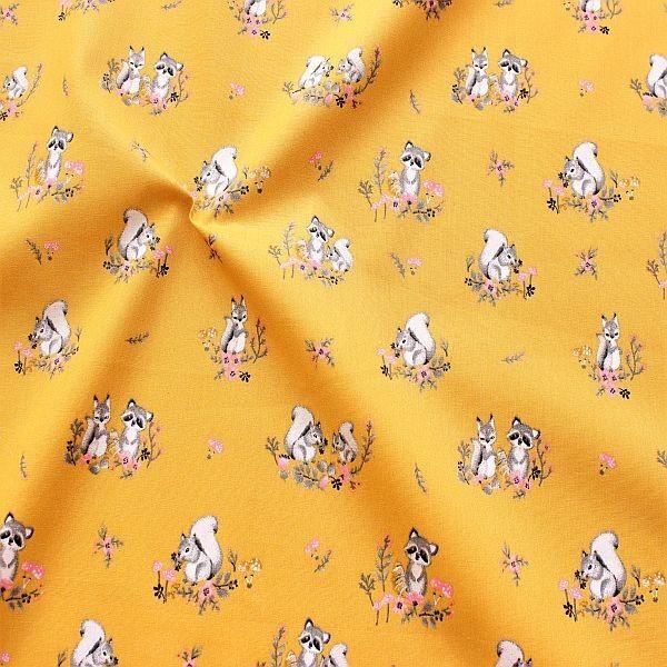 Baumwollstoff Charming Friends Gold-Gelb