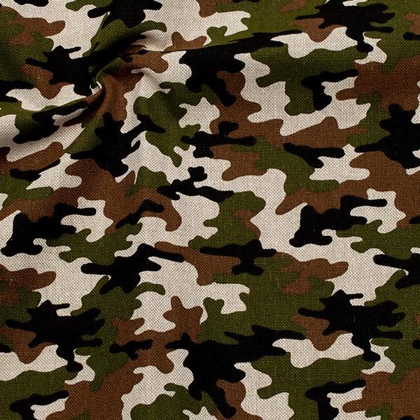 Dekostoff Leinen-Optik Camouflage 9 Khaki-Grün