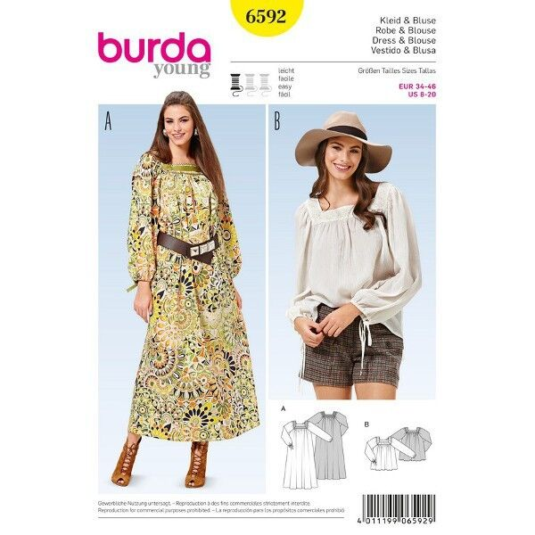 Kleid - Bluse - Carre-Ausschnitt, Gr. 34 - 46, Schnittmuster Burda 6592