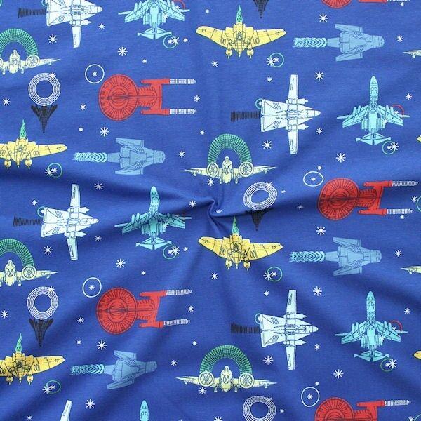 Baumwoll Stretch Jersey Raumschiffe Blau