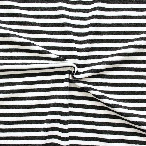 """Viskose Stretch Jersey """"Ringelstreifen 3"""" Farbe Schwarz-Weiss"""