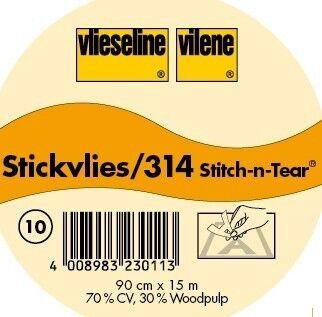 Vlieseline Stickvlies ausreißbar Typ 314 Farbe Weiss