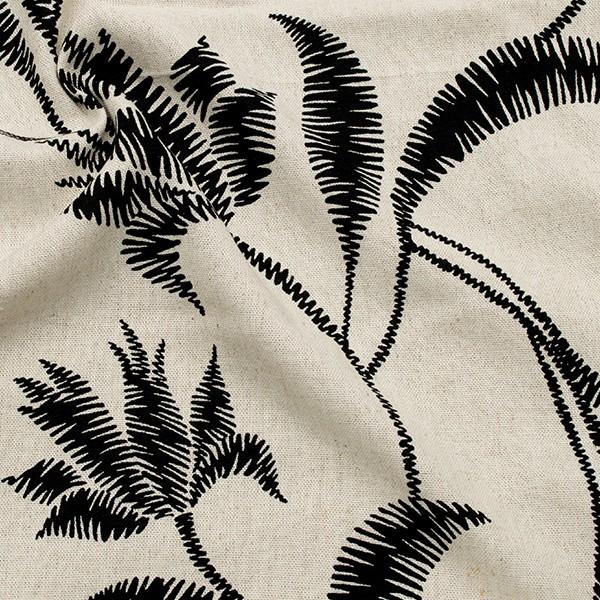 Viskose-Leinen Stoff Tropenblätter Natur