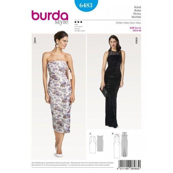 Trägerloses Kleid – Abendkleid mit Spitzenpasse und Godet, Gr. 34 - 44, Schnittmuster Burda 6483