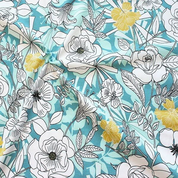 Baumwoll Stretch Jersey Fashion Flower Mix Mint