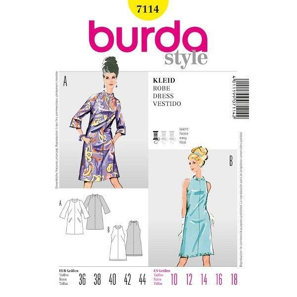 Kleid mit Trompetenärmeln, Gr. 36 - 44, Schnittmuster Burda 7114