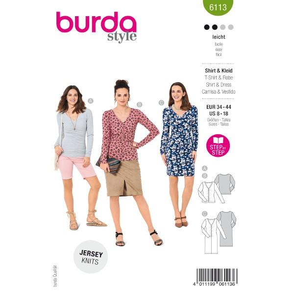 Shirts und Kleid mit Raffung, Gr. 34 - 44 Schnittmuster Burda 6113