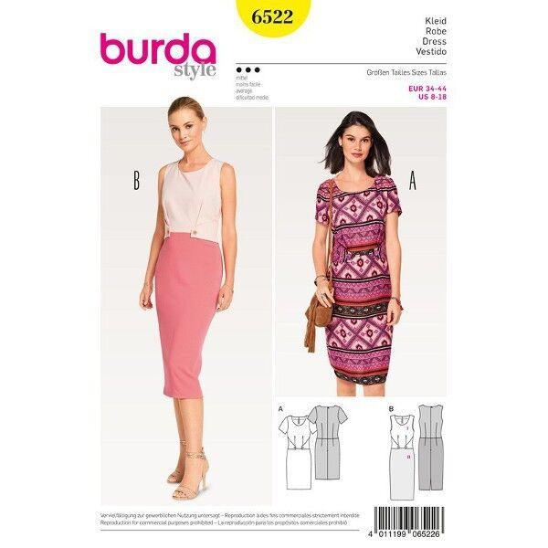 Kleid - Etuikleid - Formblende, Gr. 34 - 44, Schnittmuster Burda 6522