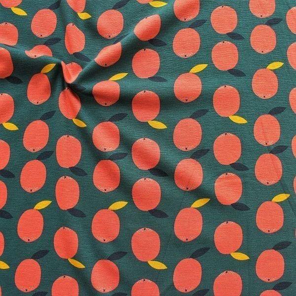 Alpenfleece Sweatshirt Äpfel Petrol