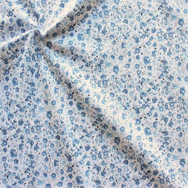 Baumwoll Stretch Jersey Little Flowers Hell-Blau