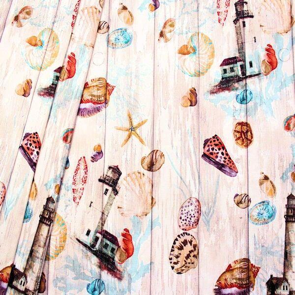 Dekostoff Digital Druck Maritime Romantik Multicolor