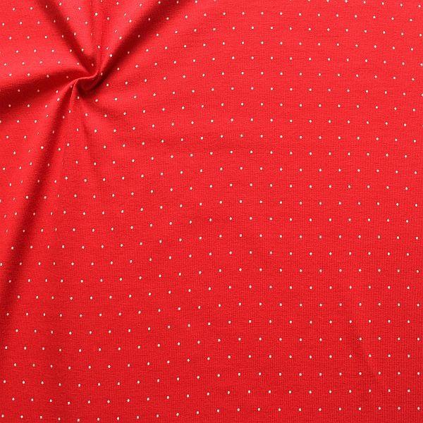 Baumwoll Stretch Jersey Mini Dots Rot