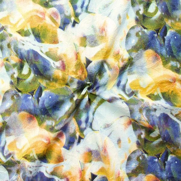 """Crinkle Baumwollstoff """"Summer Fashion 5"""" Farbe Blau-Gelb"""