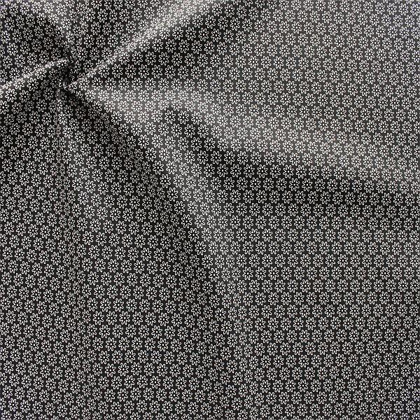 Baumwollstoff Sternblüten Schwarz
