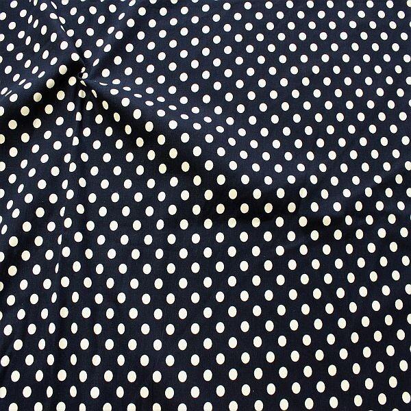Stretch Baumwolle Köper Classic Dots Dunkel-Blau