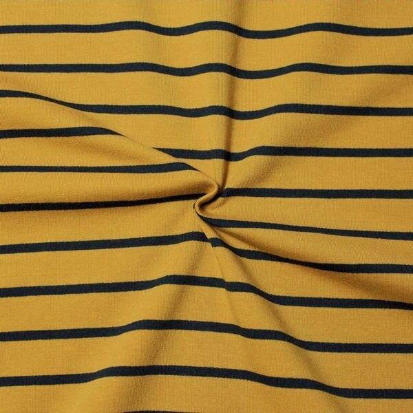"""Sweatshirt Baumwollstoff French Terry """"Querstreifen Duo"""" Farbe Curry-Gelb Blau"""