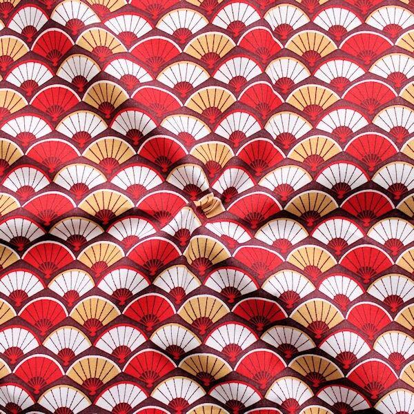 Baumwolle Popeline Fächer Rot