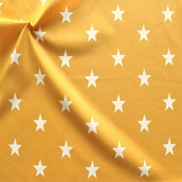 Baumwolle Popeline Sterne gross Ocker-Gelb Weiss