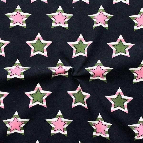 Baumwoll Stretch Jersey Star Patches Dunkel-Blau