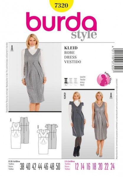 Kleid – Umstandsmode, Gr. 38 - 50, Schnittmuster Burda 7320