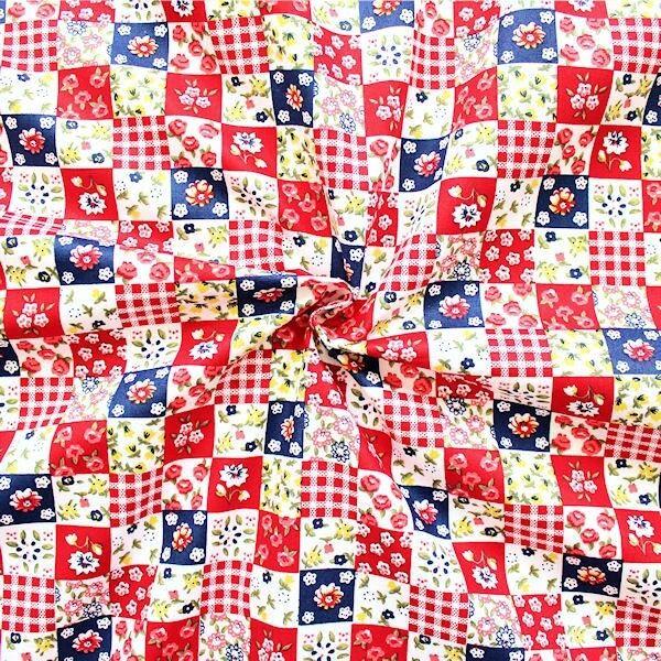 "100% Baumwollstoff ""Mini Patchwork"" Farbe Rot"