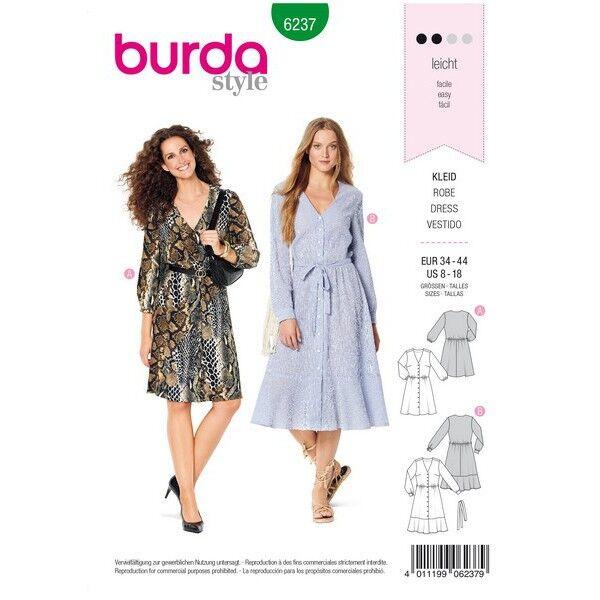 Kleid mit Knopfverschluss – Hemdblusenstil – V-Ausschnitt, Gr. 34 - 44, Schnittmuster Burda 6237