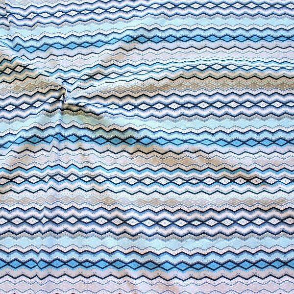 Baumwoll Stretch Jersey Ethno Zick-Zack Linien Blau