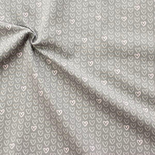 Sweatshirt Baumwollstoff French Terry Herzchen Grau