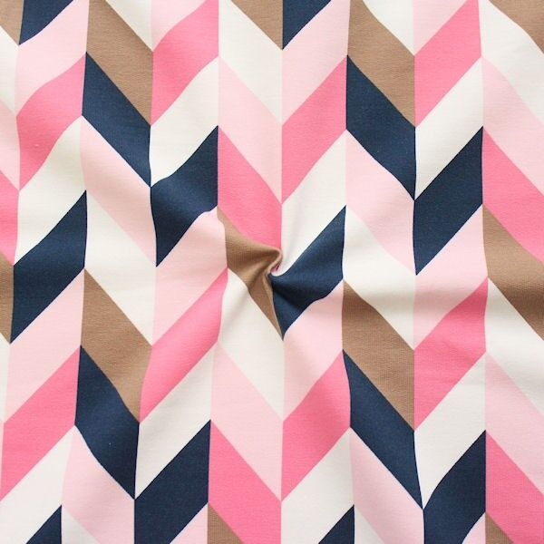 "Sweatshirt Baumwollstoff French Terry ""Zick Zack Reihen"" Farbe Rosa-Blau"