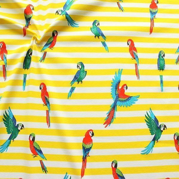 Baumwoll Stretch Jersey Glitzer Papageien Streifen Gelb-Weiss