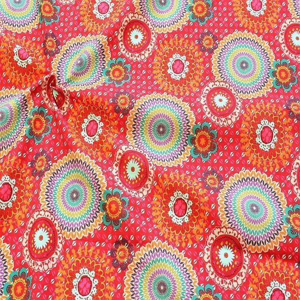 Baumwollstoff Boho Mandala Mix Rot-Multicolor