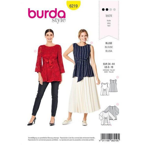 Ärmellose Bluse – doppellagige Tunika – Bindebänder im Vorderteil, Gr. 34 - 44, Schnittmuster Burda 6219