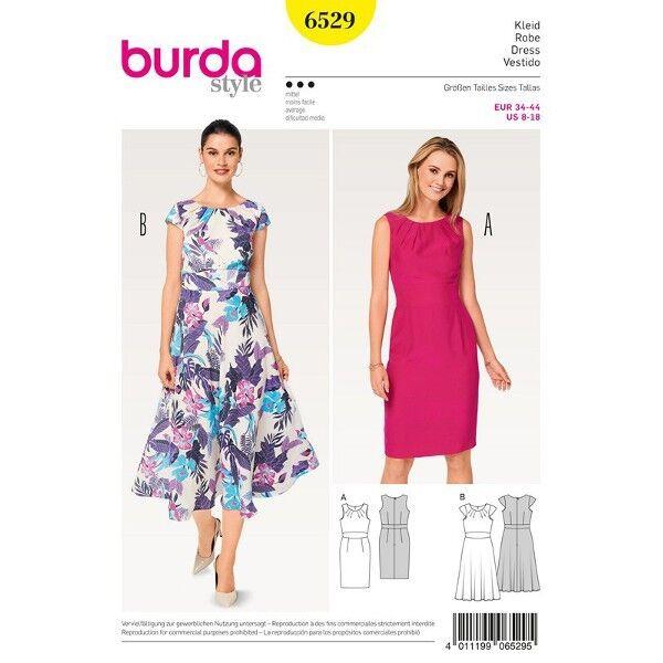 Kleid - Taillenblende -  kleine Ärmel, Gr. 34 - 44, Schnittmuster Burda 6529