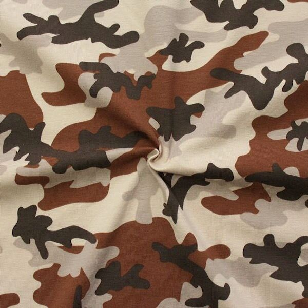 "Baumwoll Stretch Jersey ""Camouflage 3"" Farbe Braun"