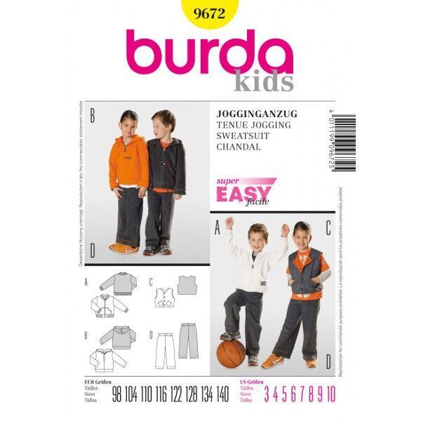 Burda 9672 Schnittmuster für Jogginganzug bestehend aus Jacke, Kapuzenshirt, Weste und Gummizughose für Mädchen und Jungen