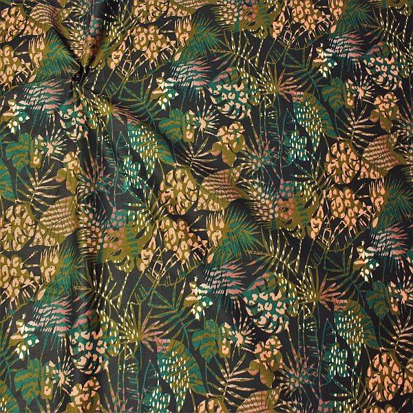 Baumwollstoff Dschungel Blätter Schwarz