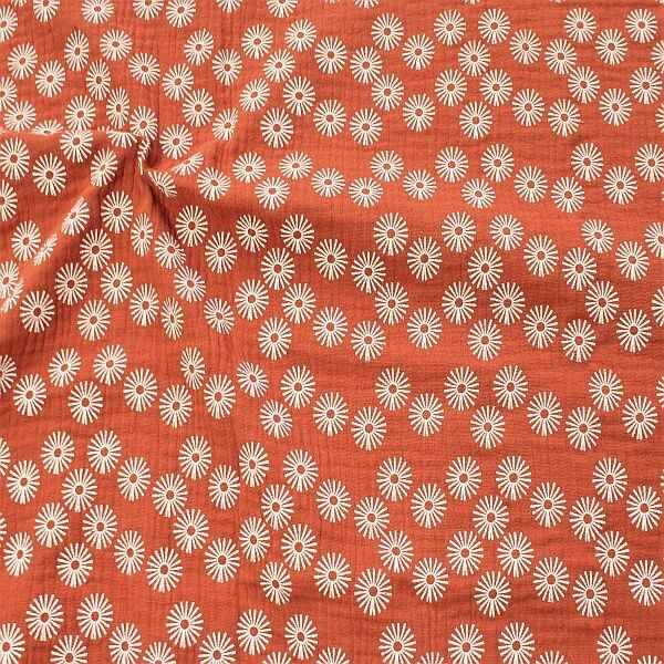 Baumwolle Musselin Strahlenblüten Rot-Braun