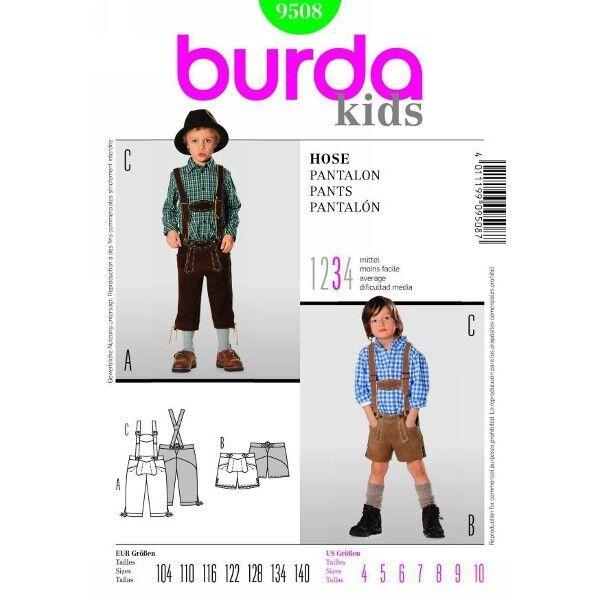 Trachten - Lederhose, lang und kurz, Gr. 104 - 140, Schnittmuster Burda 9508