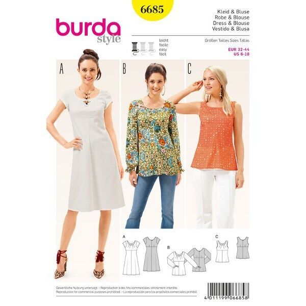 Kleid – Bluse – Top – hohe Taille, Gr. 32 - 44, Schnittmuster Burda 6685