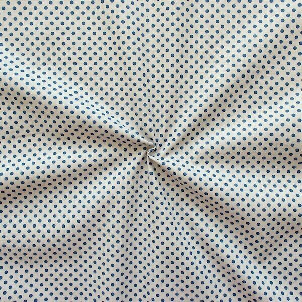 Baumwolle Popeline Punkte klein Beige-Blau