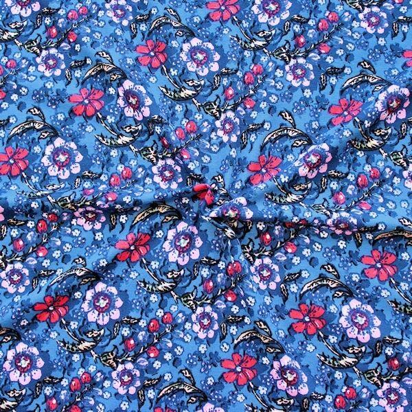 "Viskose Stretch Jersey ""Flower Series"" Farbe Blau"