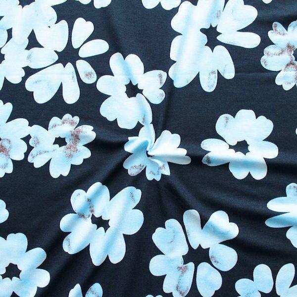 "7,00 Meter Viskose Stretch Jersey ""Blüten"" Farbe Blau"