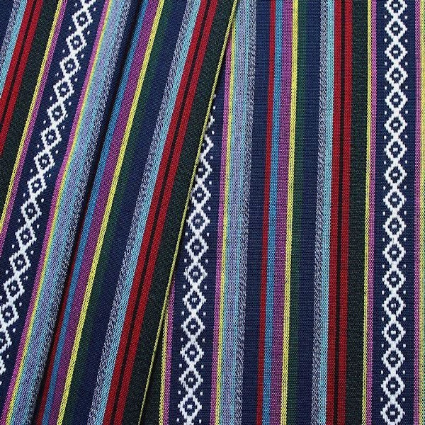 """Modestoff / Dekostoff """"Poncho Style 9"""" Farbe Blau-Multicolor"""
