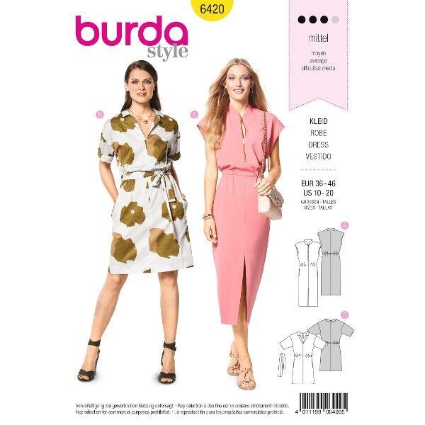 Kleid – überschnittene Schultern – Taillendurchzug, Gr. 36 - 46, Schnittmuster Burda 6420