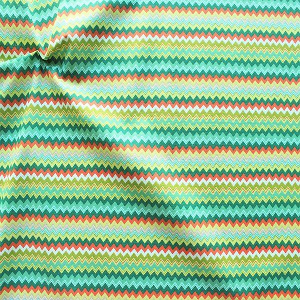 Baumwollstoff Zick Zack Streifen Grün-Multicolor