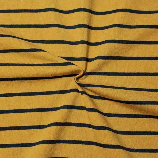 Baumwoll Jersey French Terry Querstreifen Curry-Gelb Blau